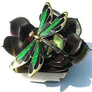 Jewelry - VINTAGE GoldTone Green Blk Enamel Dragonfly Brooch